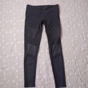 "Alo L Gray Moto Leggings Ankle Crop 9"" Mid Rise"